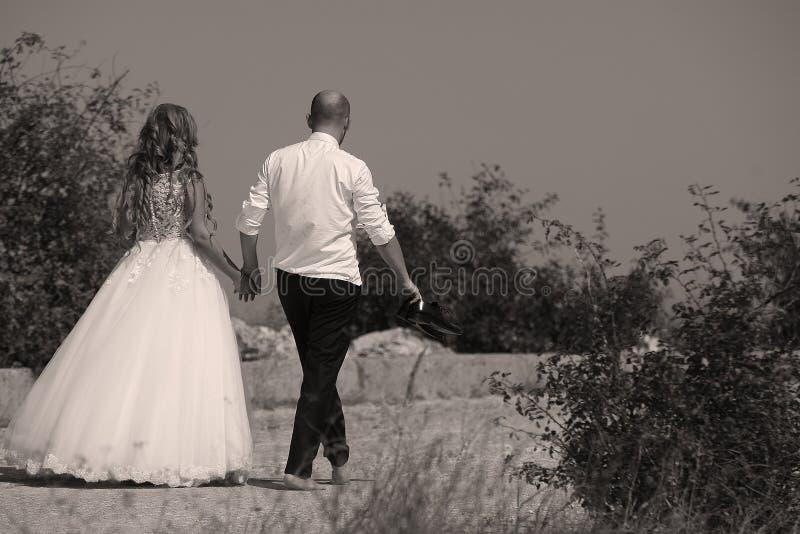 Pares que caminan, lado trasero de la boda fotografía de archivo libre de regalías