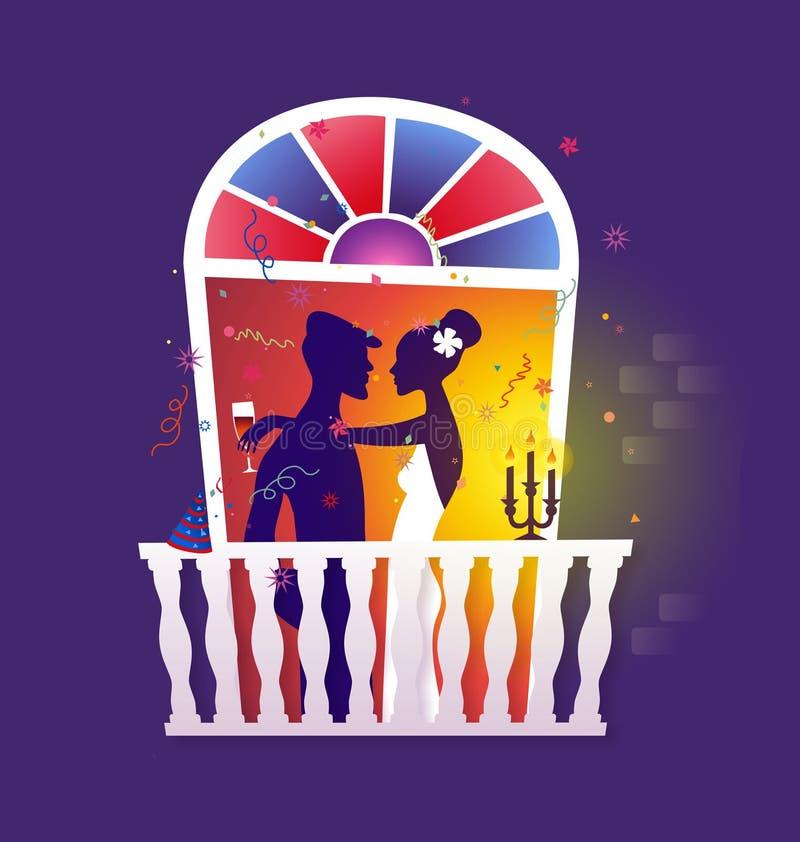 Pares que celebran - cena romántica stock de ilustración