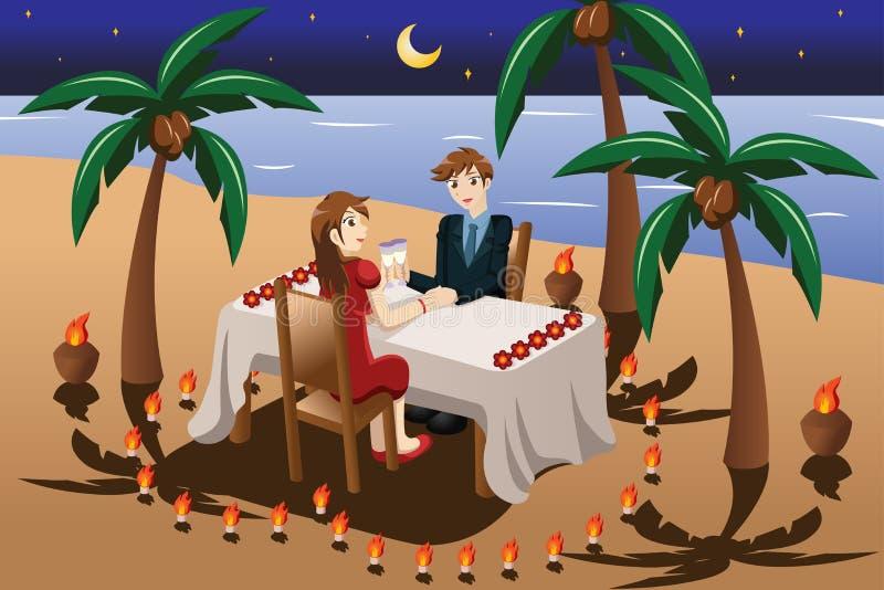 Pares que cenan romántico la luz de la vela libre illustration