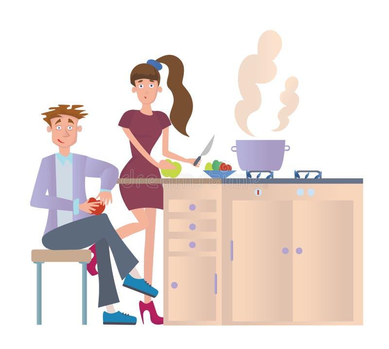 Pares que cocinan la cena en casa en la cocina Hombre joven y mujer en la tabla de cocina Ejemplo del vector, aislado encendido libre illustration