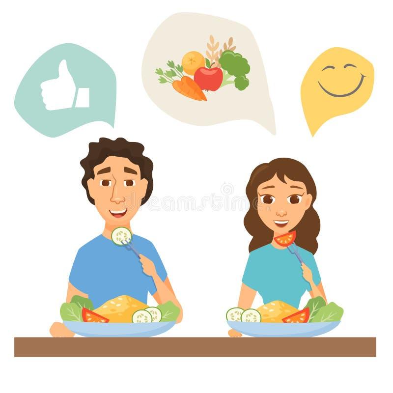 Pares que comem o alimento saudável ilustração royalty free