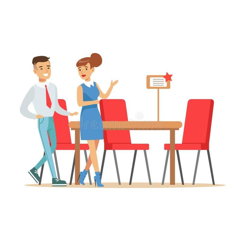 Pares que compram a mesa de jantar e cadeiras grandes para a sala de jantar, cliente de sorriso na compra da loja da mobília para ilustração stock