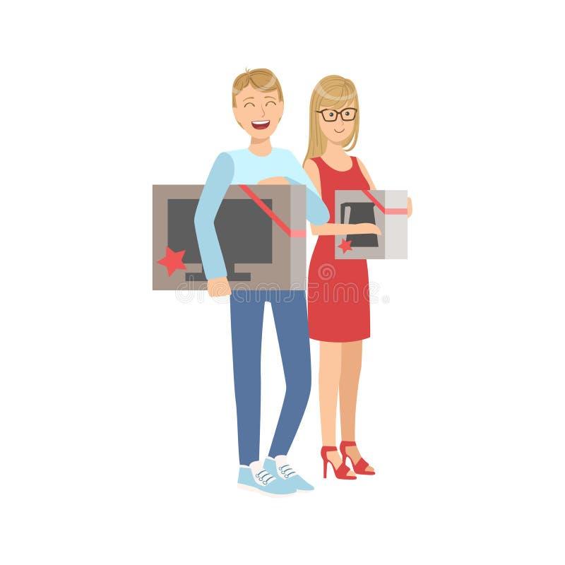 Pares que compram a tevê e a micro-ondas Oven In Shopping Mall ilustração royalty free