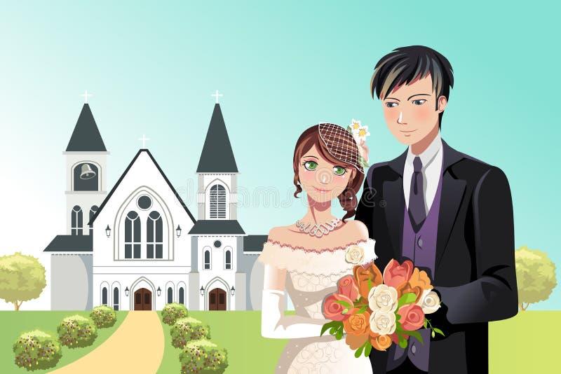 Pares que consiguen casados stock de ilustración