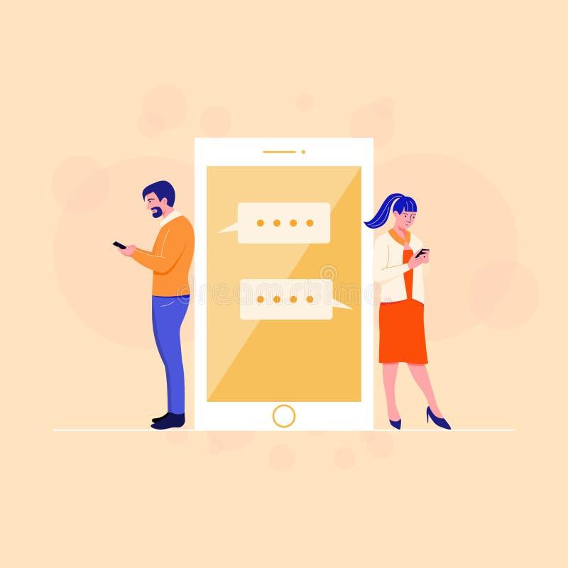 Pares que conversam o app em linha Lendo uma mensagem Conceito da tecnologia e do relacionamento ilustração royalty free