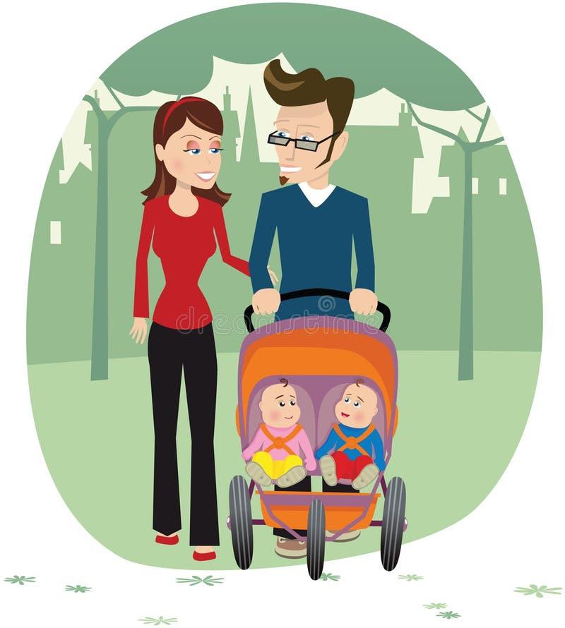 Pares que dão uma volta com bebês ilustração do vetor