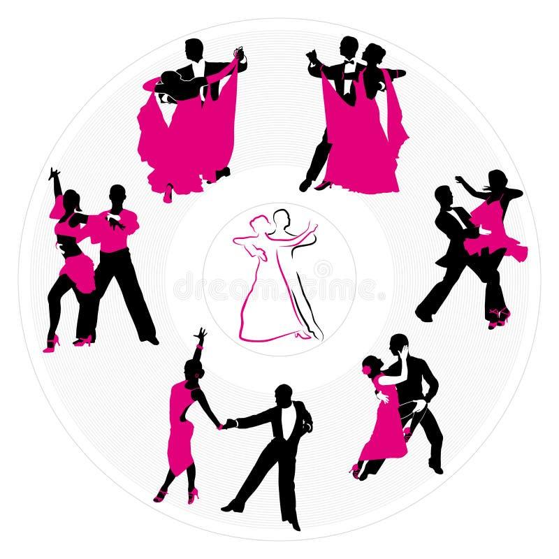 Pares que dançam na placa ilustração stock
