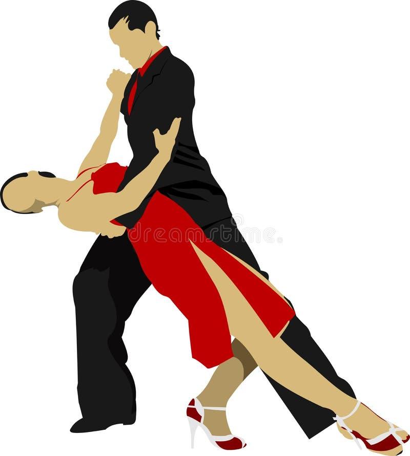 Pares que dançam um tango ilustração royalty free