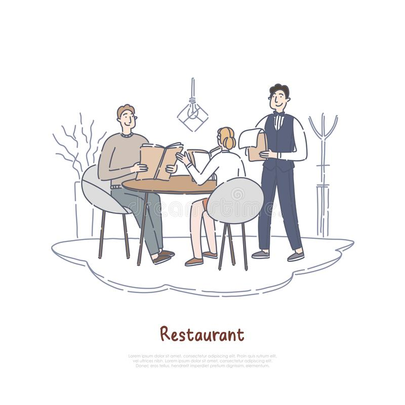 Pares que datam no restaurante, no noivo e na amiga tendo o jantar no café, alimento pedindo, colegas na bandeira da ruptura ilustração do vetor