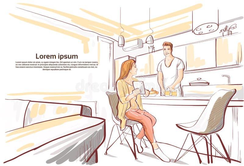 Pares que desayunan, tableta de la demostración de la mujer servir cocinar el estudio de la cocina de la comida ilustración del vector