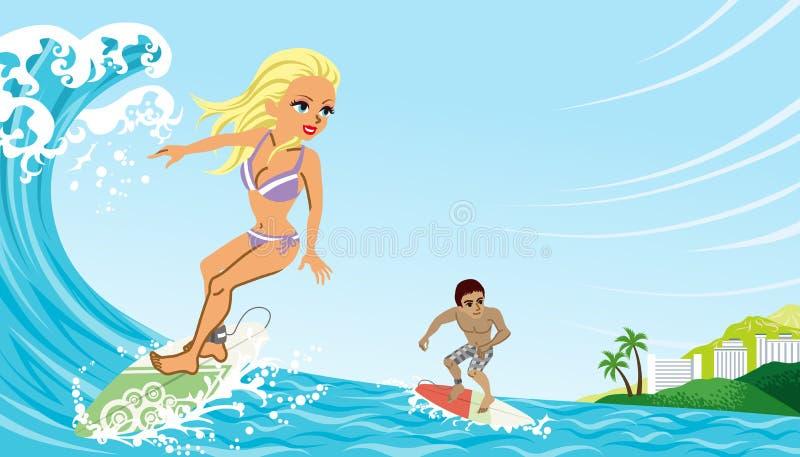 Pares que disfrutan de practicar surf ilustración del vector
