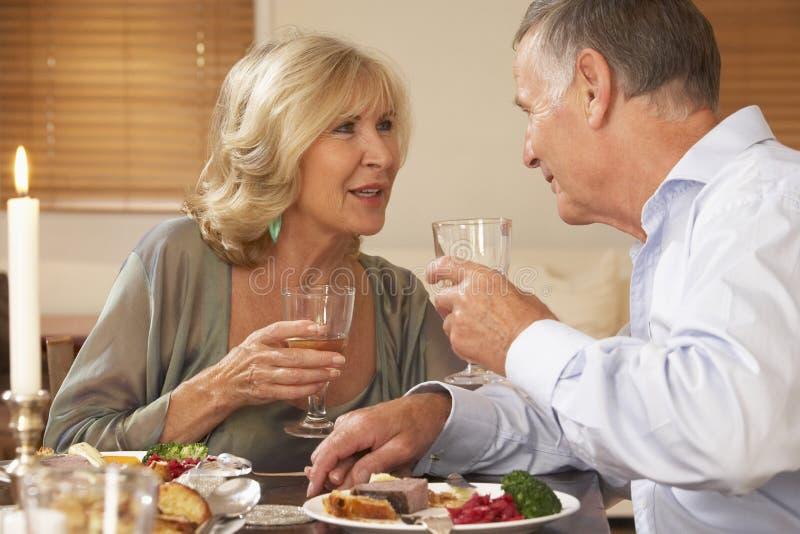 Pares que disfrutan de una comida en el país junto imagen de archivo libre de regalías