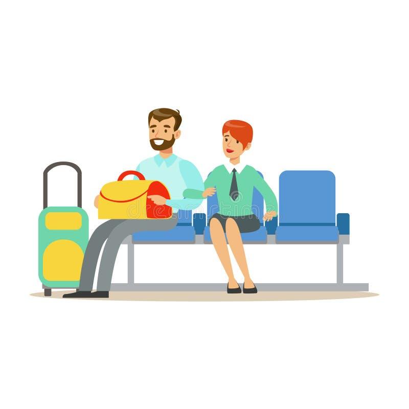 Pares que esperan un vuelo en zona de espera, la parte del aeropuerto y la serie relacionada de las escenas del transporte aéreo  libre illustration