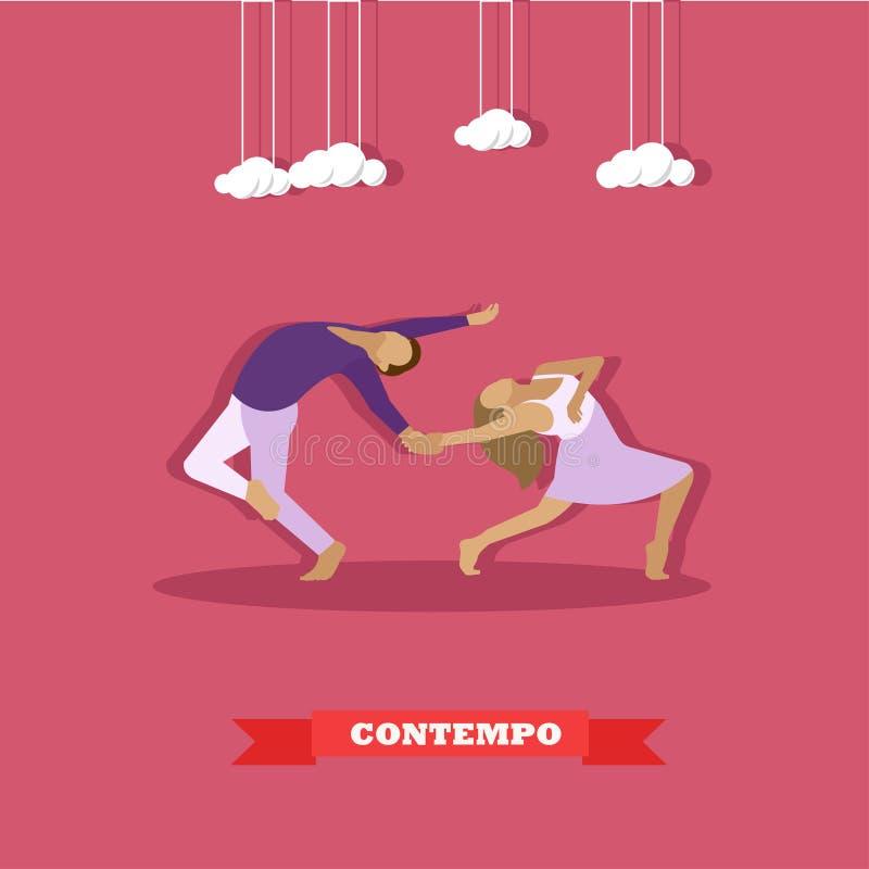 Pares que executam a dança contemporânea A ilustração do vetor do conceito da dança da menina e do indivíduo no estilo liso proje ilustração do vetor