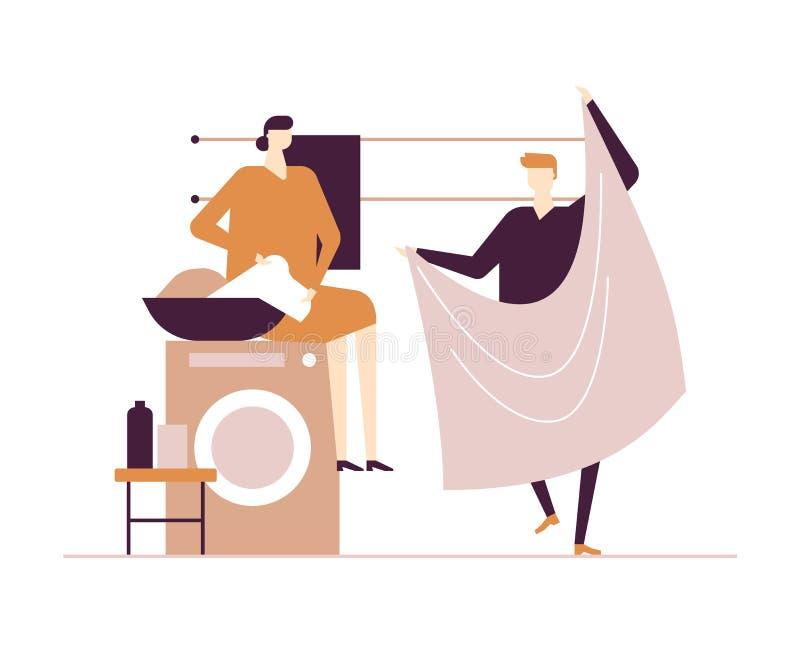 Pares que fazem a lavanderia - ilustração colorida do estilo liso do projeto ilustração royalty free