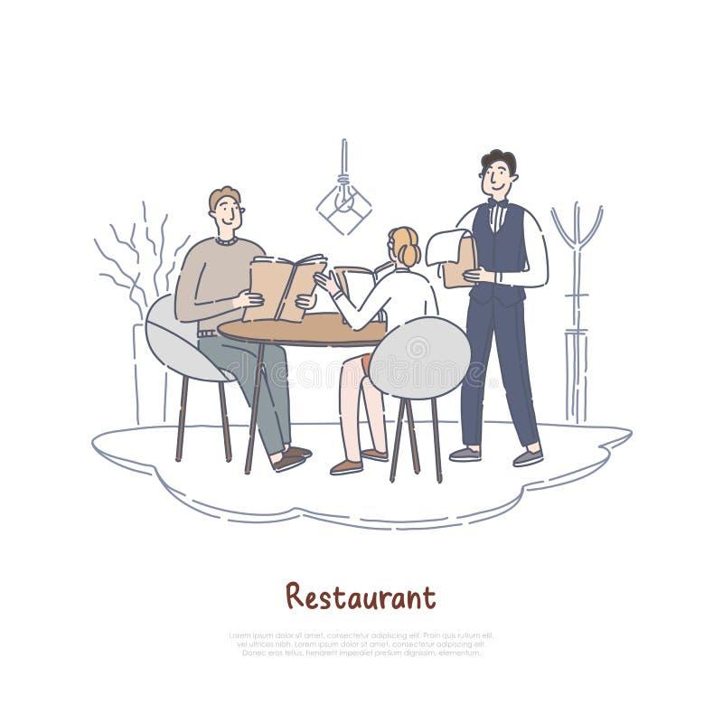 Pares que fechan en el restaurante, el novio y la novia cenando en el café, comida que ordena, colegas en bandera de la rotura ilustración del vector