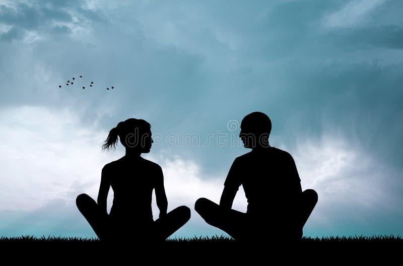 Pares que hacen yoga en la puesta del sol ilustración del vector