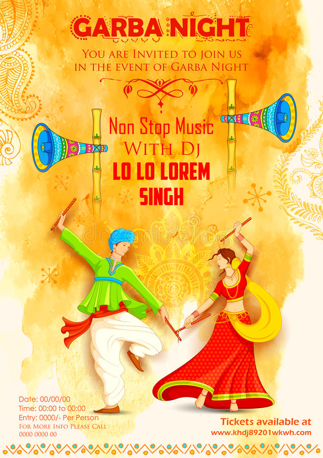 Pares que jogam Dandiya no cartaz de Garba Night do disco ilustração royalty free