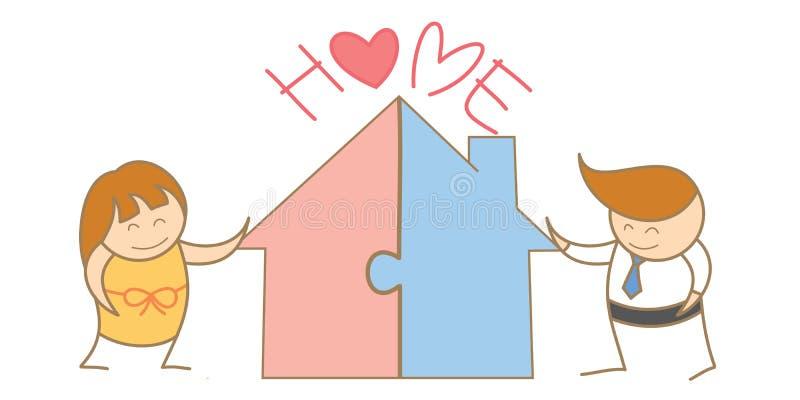 Pares que juntan el rompecabezas de la casa stock de ilustración