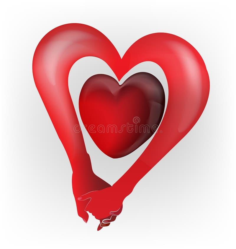 Pares que llevan a cabo el logotipo de la forma del amor del corazón de las manos stock de ilustración