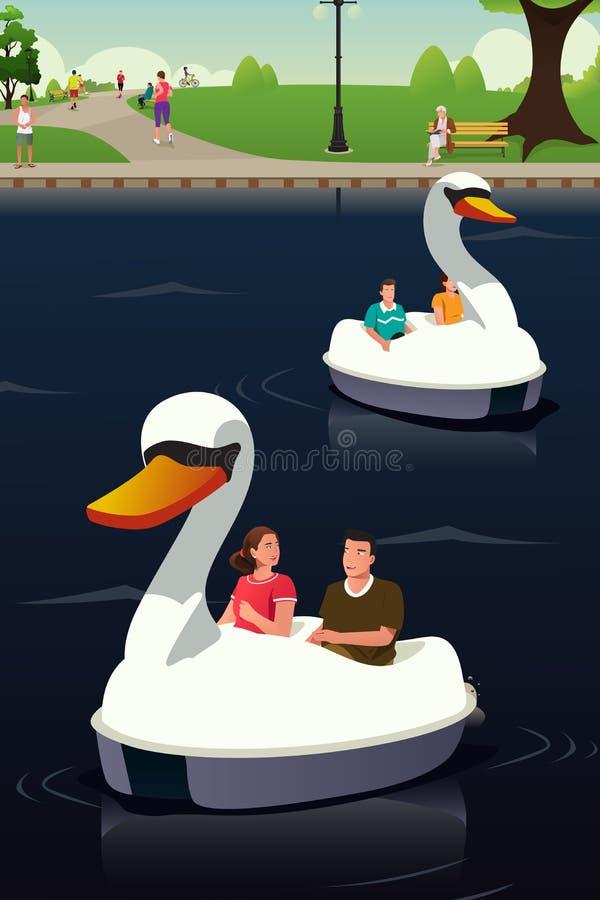 Pares que montam Duck Boat ilustração stock