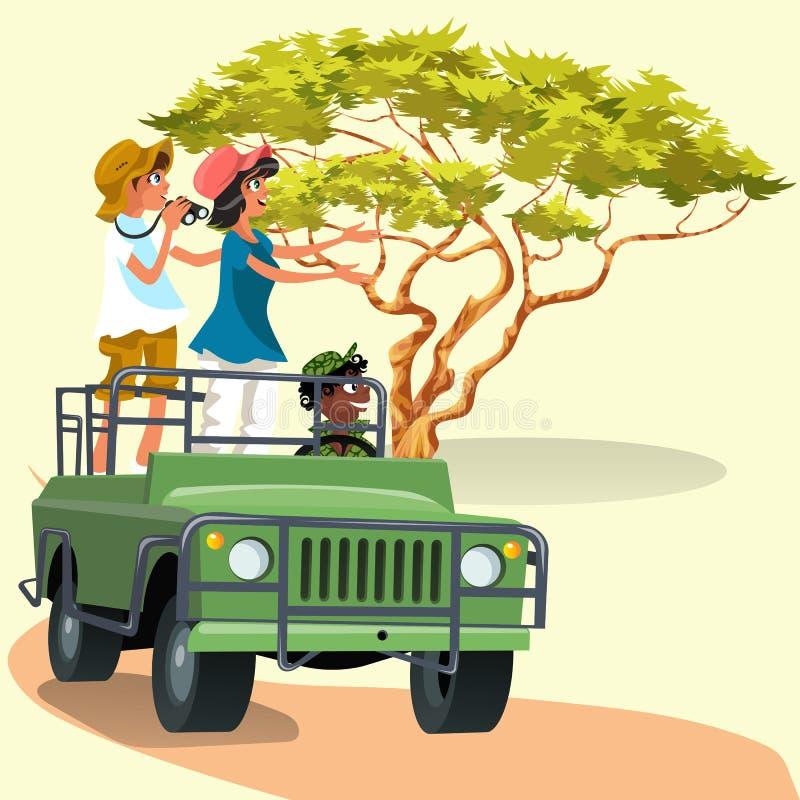 Pares que montam no carro com o motorista no jardim zoológico ilustração stock