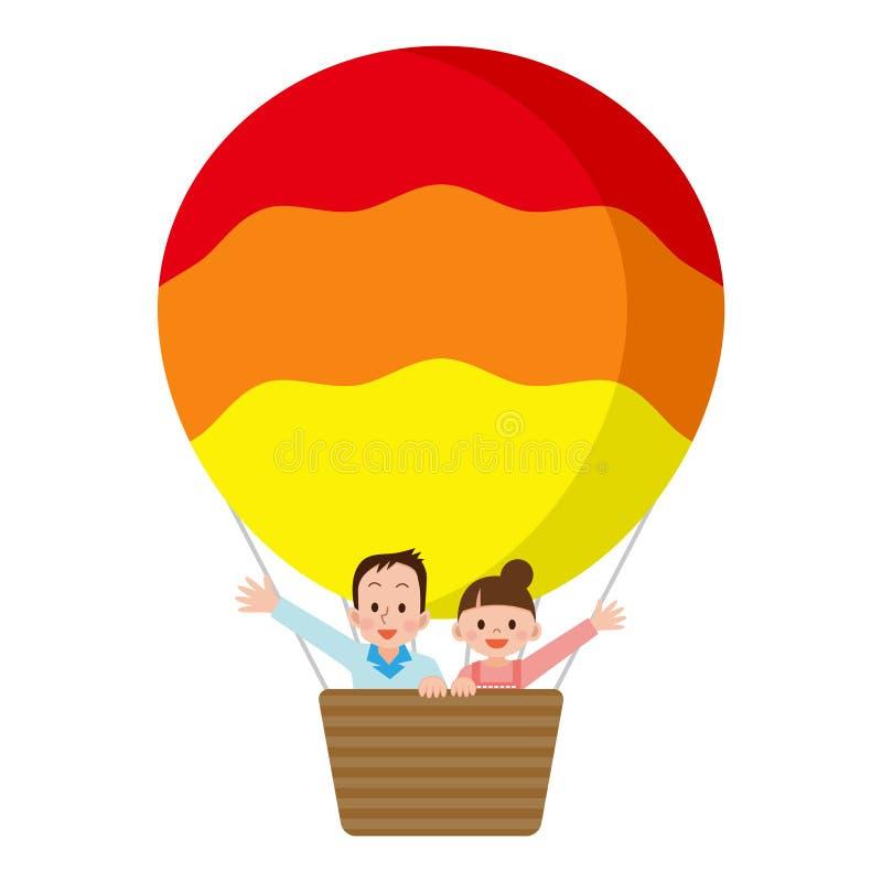 Pares que montam um balão ilustração do vetor