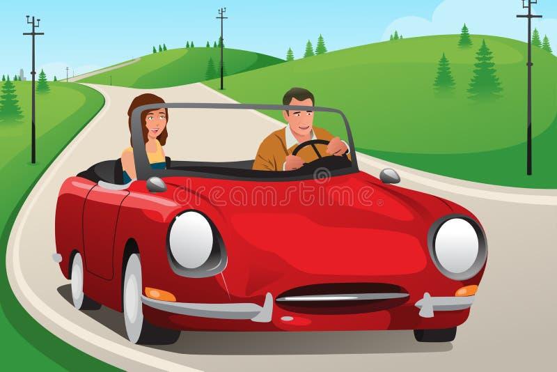 Pares que montam um carro convertível ilustração do vetor