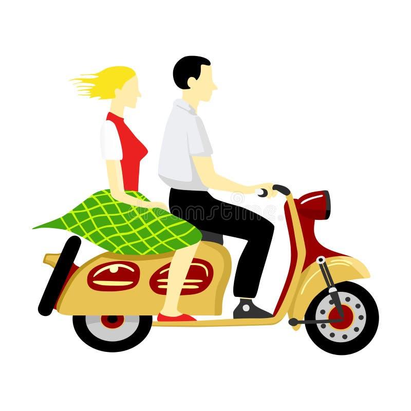 Pares que montan una motocicleta ilustración del vector