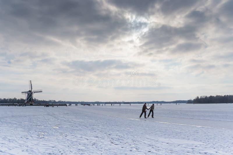 Pares que patinan en el lago foto de archivo