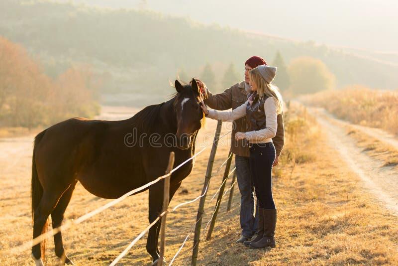 Pares que petting o cavalo fotografia de stock royalty free
