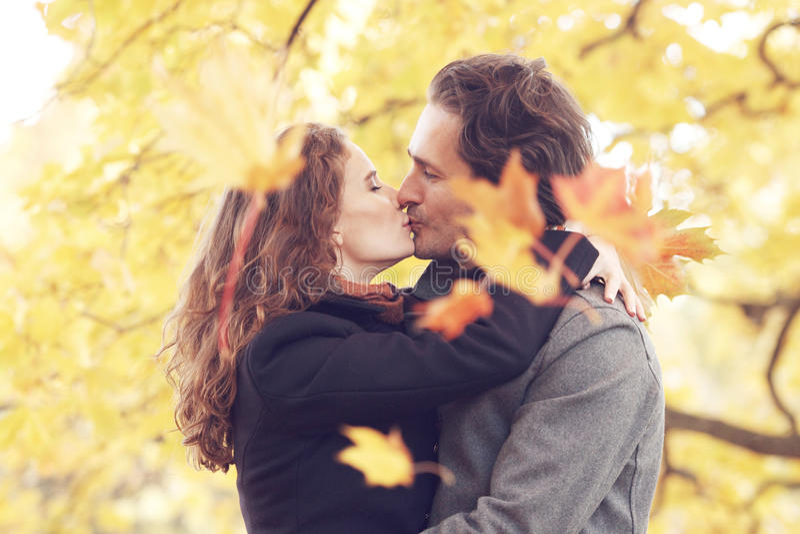 Pares que se besan en parque del otoño imagen de archivo