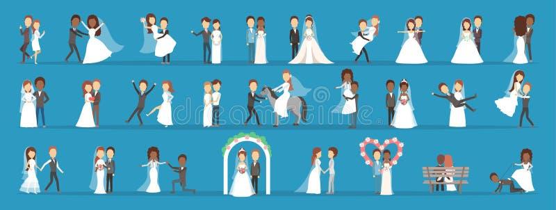 Pares que se casan el sistema Colección de novia con el ramo libre illustration