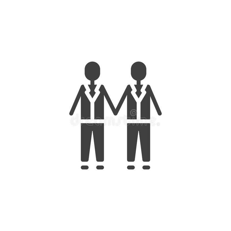 Pares que se casan gay que llevan a cabo el icono del vector de las manos ilustración del vector