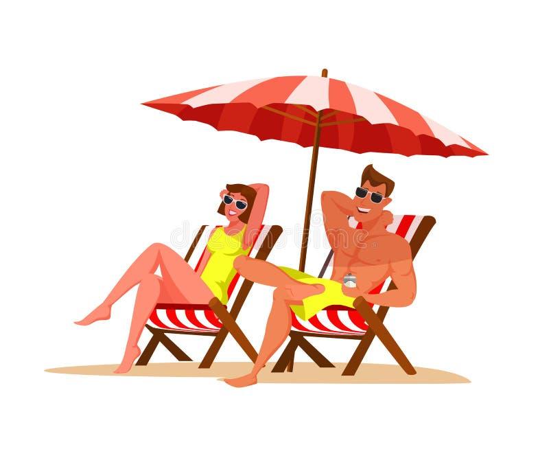 Pares que se relajan en el ejemplo de color plano de la playa stock de ilustración