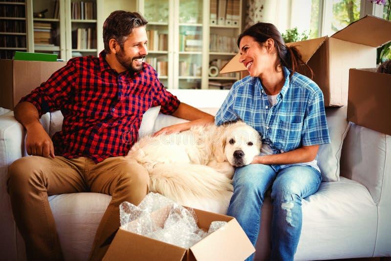 Pares que se sientan en el sofá con su perro casero imagen de archivo libre de regalías