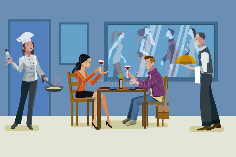 Pares que têm um jantar romântico ilustração royalty free