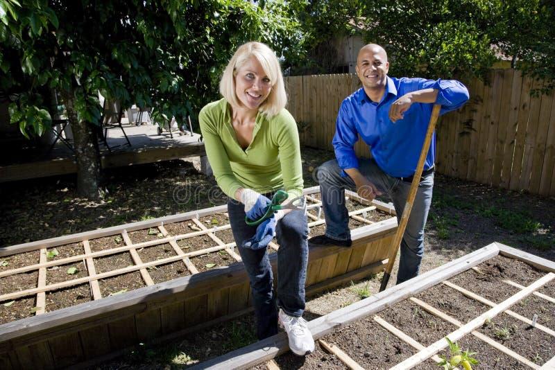 Pares que trabajan en el jardín vegetal en patio trasero fotografía de archivo