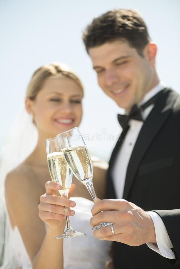 Pares que tuestan a Champagne Flutes Outdoors fotos de archivo libres de regalías