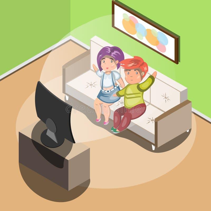 Pares que ven la TV en sala de estar stock de ilustración