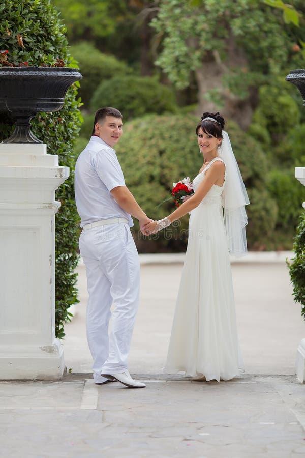 Pares recentemente wedded no parque fotografia de stock