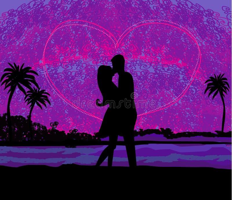 Pares románticos alrededor a besarse en la playa en la puesta del sol libre illustration