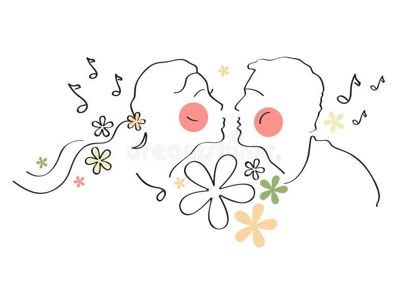 Pares románticos, amor, boda, matrimonio, nupcial, cumpleaños, el día de tarjeta del día de San Valentín stock de ilustración