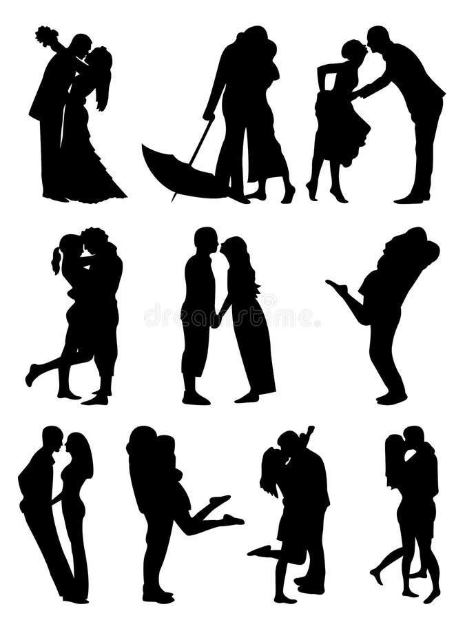 Pares románticos Cilhouettes ilustración del vector