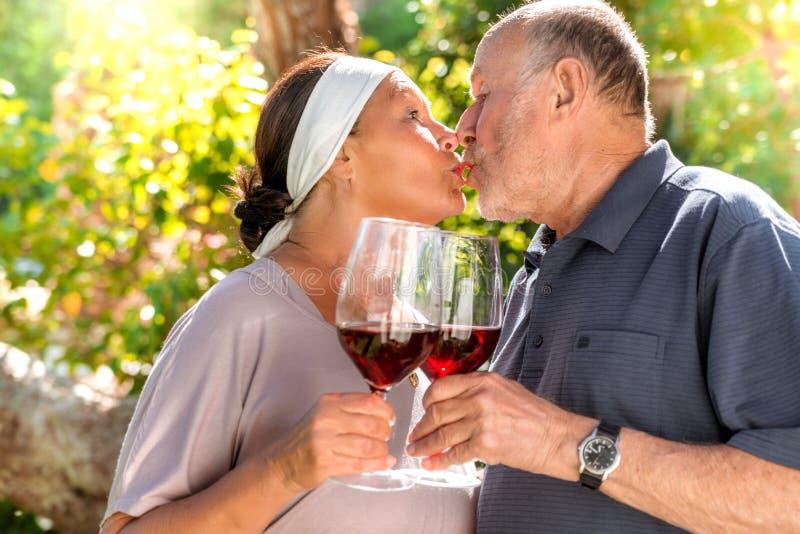Pares románticos con el vino rojo imagen de archivo