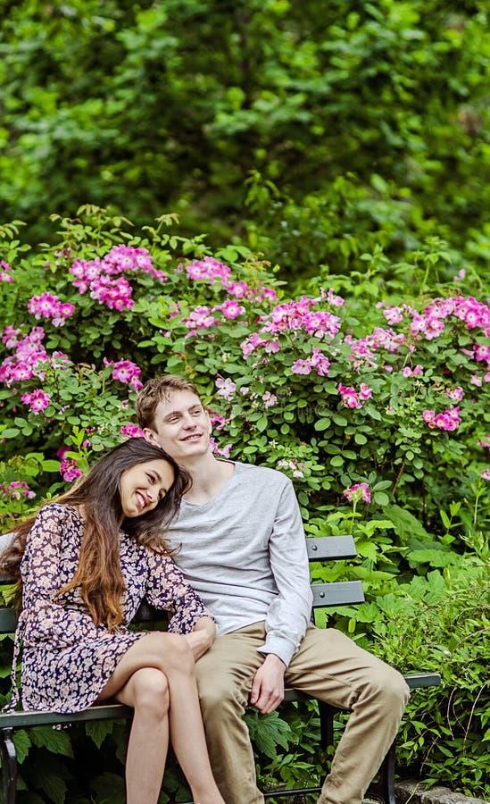 Pares románticos en banco en jardín imagen de archivo