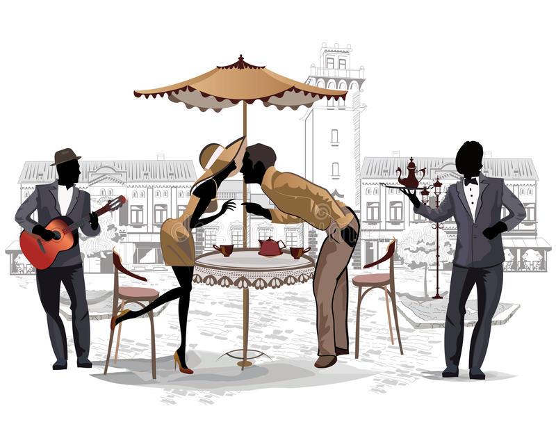 Pares románticos en el café de la calle y un músico ilustración del vector