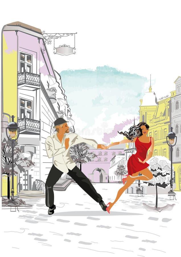 Pares románticos en el trineo Días de fiesta de invierno ilustración del vector