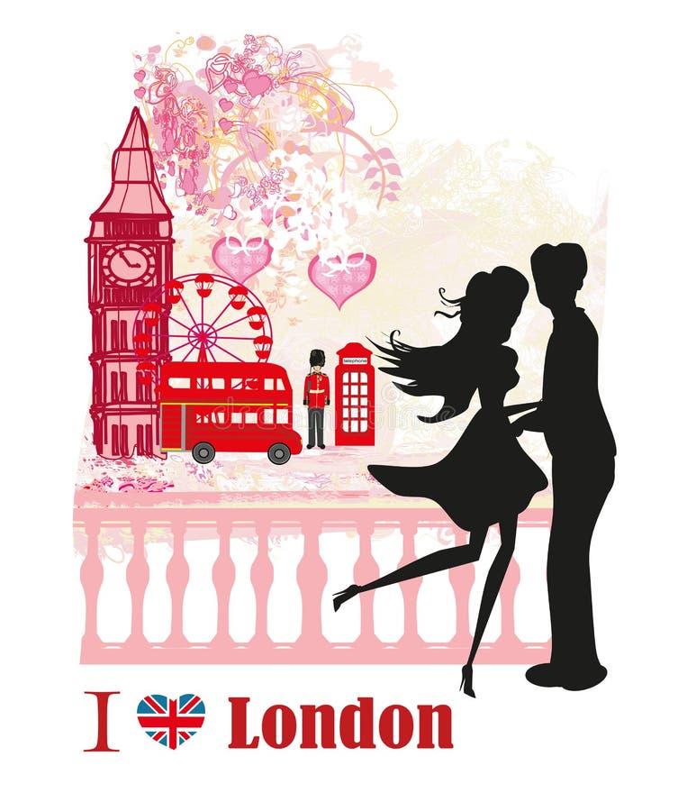 Pares románticos en Londres, tarjeta libre illustration