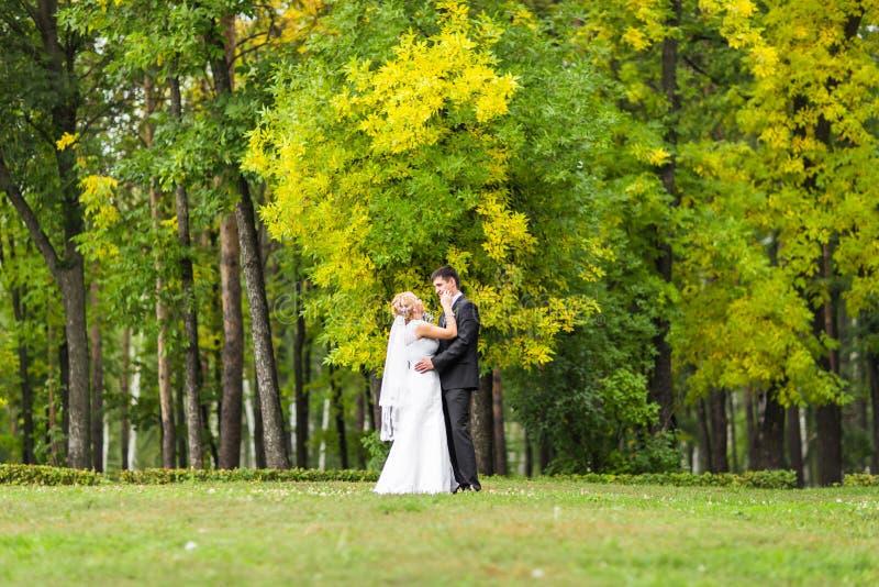 Pares románticos hermosos de la boda que se besan y que abrazan al aire libre fotos de archivo libres de regalías